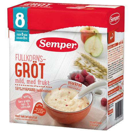 Semper Бебешка пълнозърнеста каша с круши, ябълки и малини с бифидус ефект 480гр  2918